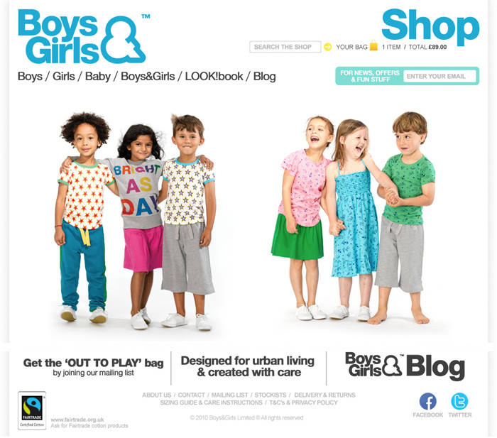 This is a full online store selling kids clothing age 0-10, ...